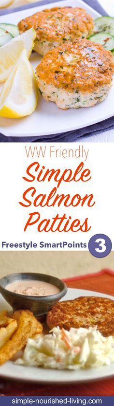 Quick & Easy Salmon Patties Weight Watchers Recipe of the Day: Quick & Easy Salmon Patties - I made these simple salmon patties for dinner recently. They were a hit. 3 WW Freestyle SmartPoints each - Simple-Nourished-! Weight Watcher Desserts, Weight Watchers Shrimp, Weight Watcher Dinners, Weight Watchers Salmon Patties Recipe, Weight Watcher Crab Cake Recipe, Air Fryer Recipes Weight Watchers, Ww Recipes, Salmon Recipes, Fish Recipes