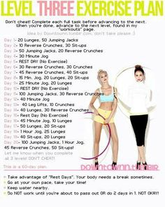 Level Three Exercise Plan. You can do it! <3 Inspired-Nourishment.com