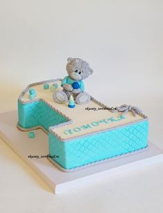 торт на годик Teddy Bear Birthday Cake, Toddler Birthday Cakes, Number Birthday Cakes, Baby First Birthday Cake, Teddy Bear Cakes, 1st Birthday Cakes, Baby Boy Cakes, Cakes For Boys, Baby Shower Cakes