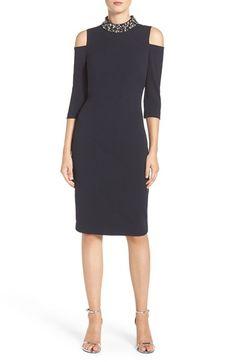 b534b72d5ee124 Eliza J Embellished Stretch Sheath Dress (Regular   Petite)