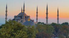Blue Mosque at sunset - twopassportsonepen