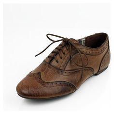 Brown Boyfriend Wing Tip Oxford Flat Womens Shoes