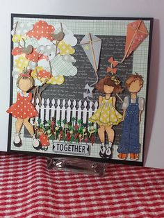 Layout: Prima Kids playing Together … Paper Doll Craft, Prima Paper Dolls, Prima Doll Stamps, Doll Crafts, Paper Cards, Diy Cards, Handmade Cards, Scrapbook Paper Crafts, Scrapbooking Ideas