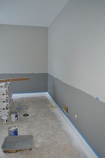 Sherwin Williams Dovetail (below) and Mindful Gray (above). Still to be added: a chair rail stripe of Sherwin Williams Pure White (same as baseboards).