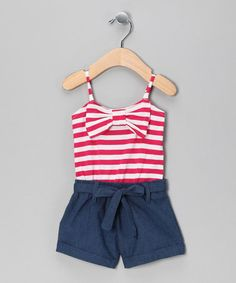 Take a look at this Fuchsia Stripe Romper - Infant by Teddy Boom on #zulily today!