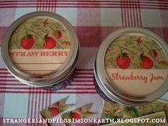 "Strangers & Pilgrims on Earth: Strawberry ""Mason Jar Labels and More"" Gift Kit ~ Free Printable"