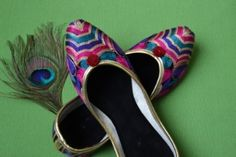 Buy Ethnic Punjabi Juttis.  Bright Vibrant coloured Punjabi Jutti for all occasions. Superb fit with non-slippery PVC sole.