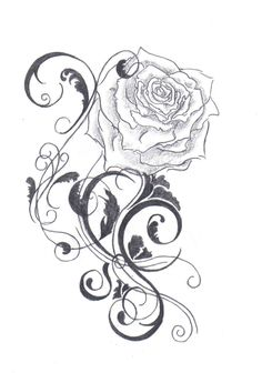 The color of the rose tattoo ideas, the tattoo is black and if you used a colored ink instead, it might seem a little different.