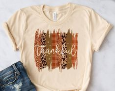 Etsy :: Your place to buy and sell all things handmade Thanksgiving Shirts For Women, Thankful And Blessed, Girls Cuts, Leopard Shirt, Bridal Party Shirts, Bridesmaid Shirts, Bachelorette Party Shirts, Fall Shirts, Cute Tshirts