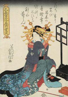 Kumoyodo ofthe Manjiya. Ukiyo-e woodblock print. 1820's, Japan by artist Utagawa Kunitomi
