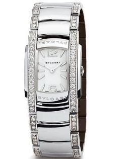 Bvlgari 18k White Gold Diamond Assioma D Watch. 18k White Gold Case and Bracelet set with Round Brilliant Cut Diamonds. White gold Crown set with a Rose Cut Diamond. Available at London Jewelers.