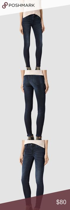 NWT all saints Brand new never worn all saints skinny jeans. Low rise, stretch, exposed zip hem, VERY FLATTERING skinny fit All Saints Jeans Skinny