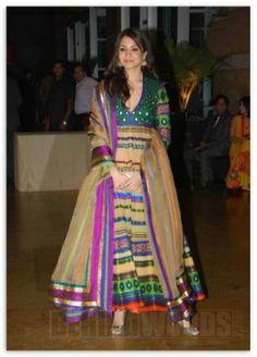 Anushka in Multi colour anarkali dress