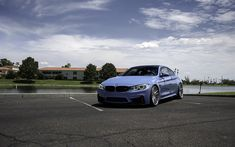 Download wallpapers BMW M4, F83, blue sports coupe, tuning m4, German cars, white wheels, BMW