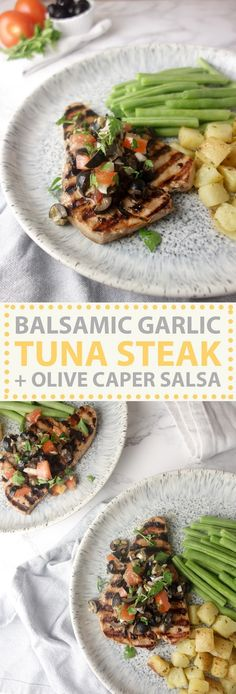 A fresh, summery dish that's ready in minutes, this marinated tuna steak with olive caper salsa is bursting with flavour!
