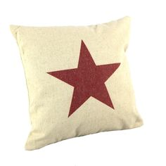 "Amazon.com - Createforlife Home Decor Cotton Linen Square Throw Pillowcase Cushion Cover Pillow Shams Red Star Pattern 18"" x 18"" - Star Burl..."