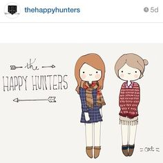 The Happy Hunters!  love these guys! Follow their blog! http://thehappyhuntersblog.com #regram #catplusmouse #fashionillustration #customportrait #illustration #madewithpaper #doodle @Katie Marble