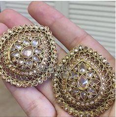 "Oversized studs in the style ""Pavan"" by Sakora Jewels. Gorgeous details!"