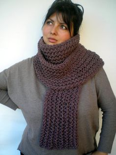 Warm Taupe  Ivy  Scarf Soft Wool Big  by GiuliaKnit on Etsy, $65.00