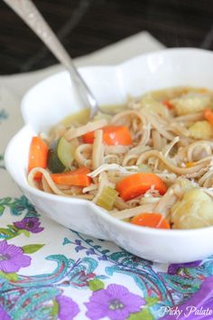Classic Chicken Noodle Soup with Roasted Vegetables.