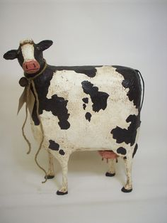 Primitive Paper Mache Folk Art Cow Bank by papiermoonprimitives