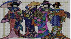 Four Geisha Japanese Cross Stitch Pattern by StepjcDesigns on Etsy, $8.00