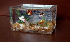 dolls house miniature Fish Tank Aquarium Handmade Ornament Rare Table LGWS - would to be larger for Barbie scale Miniature Furniture, Doll Furniture, Diy Dollhouse, Dollhouse Miniatures, Legos, Diy Resin Crafts, Aquarium Decorations, Miniature Dolls, Miniature Crafts