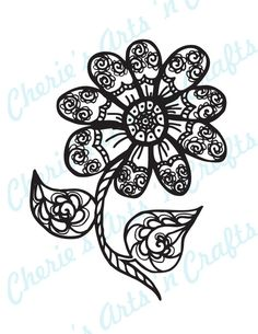 Instant Digital Download, Digi Stamp, Zentangle Flower, PNG and PDF Files, Printable, You Color, Original art by Cherie
