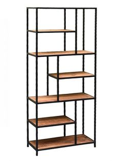 Fancy metal shelf black with wood floors to buy online - boron .