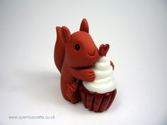 Little Squirrel with Glass Cupcake (cupcake by Phoenix Glass)