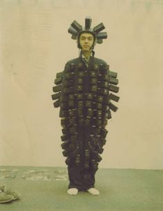 Front view of Ben Conrad wearing pinhole suit and helmet with 135 cameras :: Pinhole Resource Collection