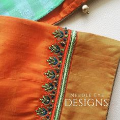 Simple Embroidery Designs, Simple Blouse Designs, Blouse Simple, Saree Blouse Neck Designs, Bridal Blouse Designs, Boarder Designs, Maggam Work Designs, Work Blouse, Sleeve Designs