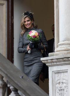 Queen Maxima of The Netherlands visits the former mining region on October 8, 2015 in Kerkrade, Netherlands.