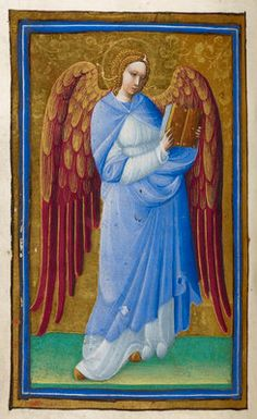Angel with a book by Belbello da Pavia, from an illuminated manuscript, a Psalter, created in Pavia, Italy, c. 1450 - British Library