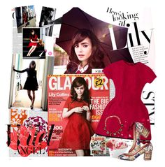 """Lily Collins in Dolce&Gabbana for Glamour UK September 2013"" by kusja ❤ liked on Polyvore featuring Oris and Dolce&Gabbana"