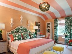 "When you think ""peach decor,"" your mind might wander back to the peach-and-teal spaces that were so prevalent in the '80s. But it can look wholly modern when used as an accent color or alongside today's trendy colors, like rich emerald green. Inspiration: New Ways to Decorate With Peach"