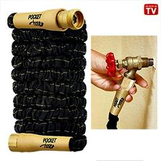 """Pocket Hose Top Brass™ As Seen On TV New and improved version of the expanding and contracting hoses that has greater strength and durability, thanks to crushproof, """"top-brass"""" connectors on both ends. Lightweight, easy-to-use hose has a heavy-duty, 3/4""""Diam. opening with rugged Dura-Rib™ inner tubing.  #FREE SHIPPING at http://stores.shop.ebay.ca/Handy-Household-Helpers"""