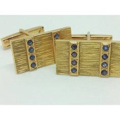 Vintage 18k yellow gold Cufflinks (cuff links) with Sapphires... ($600) ❤ liked on Polyvore featuring jewelry, gold jewelry, gold jewellery, vintage jewelry, vintage jewellery and christmas jewelry