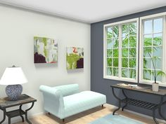 3D floor plan for sitting area looking out onto outdoor landscape. Painted walls, hardwood flooring, and area rug are the foundation for traditional decor. Light blue lounge chaise lounge chair, blue and white lamp, Afton Wall Art and Antiago slate tile top side tables with organizing basket. Map out your relaxation area in 3D & See how they look in your home before you purchase with RoomSketcher Home Planner.