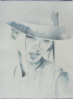 Woman in hat, fashion illustration, original painting, watercolor painting, original painting, sepia color 9,5'' x 13,5''