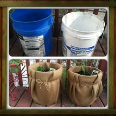I wanted to do a small vegetable garden on my deck so I took some old ugly 5 gallon buckets, drilled several small holes in the bottom for drainage, then covered them with burlap and spruced them up with twine. Perfect for small spaces!
