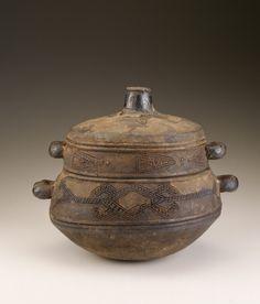 Congo, Democratic Republic of the Congo; Kongo peoples Lidded bowl Early 20th century Ceramic, encrustation H x W x D: 20.9 x 25 x 20.9 cm
