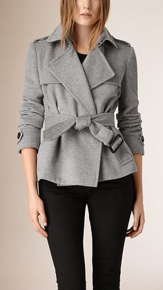 Pale grey melange Wool Cashmere Trench Jacket - Image 1