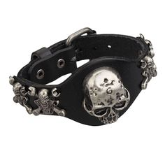 Beautiful Skull Leather Biker Bracelet If you are a biker, this necklace is perfect for you. It has a very nice Skull on it This bracelet is available in 4 colors (Black, Red, Brown or Orange) https://www.steampunkartifacts.com