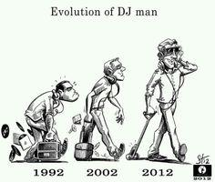The evolution of the DJ.Sums it up really Dj Music, Dance Music, Radio Humor, Evolution Cartoon, Satirical Illustrations, Hip Hop Art, Happy Birthday Funny, Music Memes, The Dj
