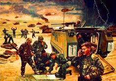United States armored forces at the decisive tank Battle of 73 Easting, 26 February during the Gulf War Military Art, Military History, Battle Of 73 Easting, Army Drawing, Battle Ground, Iraq War, Modern Warfare, Sci Fi Art, Cold War
