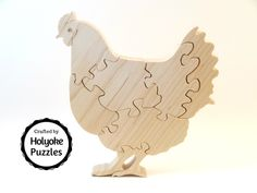 Chicken puzzle, wood puzzle in maple with Swarovski crystal eyes by HolyokePuzzles on Etsy