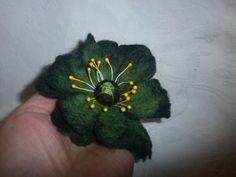 Felt Wool jewelryblack green felt brooch by FahionFeltProducts