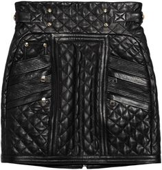 BALMIAIN  London Rock Chick Quilted Leather Mini Skirt   worn with Wolford 100 Black denier tights & booties or loubi's