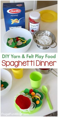Make an adorable play food spaghetti dinner. out of yarn & felt! - Frugal Fun For Boys and Girls Make a Yarn & Felt Play Food Spaghetti Dinner - spaghetti, sauce, and salad. So fun for pretend play! Spaghetti Dinner, Spaghetti Sauce, Pretend Food, Pretend Play, Role Play, Diy For Kids, Crafts For Kids, Felt Food Patterns, Diy Play Kitchen